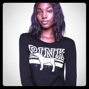 ⭐️RARE FIND!❤️VS  PINK (L) black long sleeve Tee